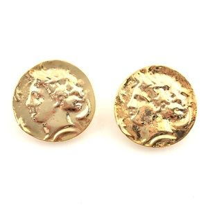 Jewelry - Vintage Face Gold Coin Medallion Clip On Earrings